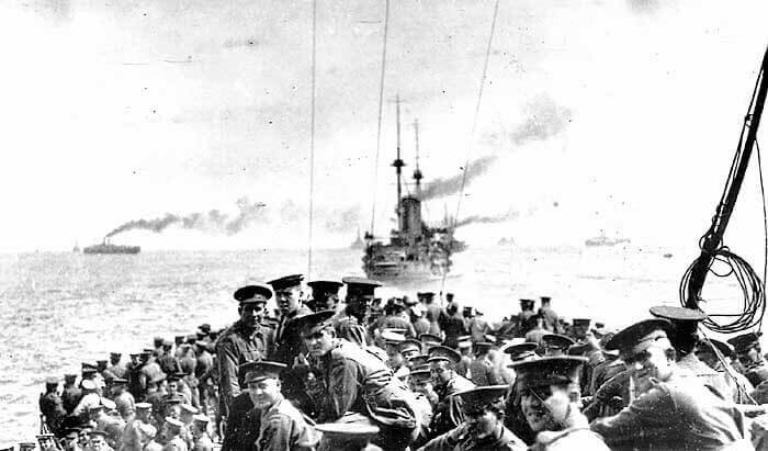 11th Battalion Australian Imperial Force and 1st Field Company Australian Engineers on HMS London sailing 24th April 1915 from the Greek Island of Lemnos for the landing on Gallipoli: Gallipoli Part III, ANZAC landing on 25th April 1915 in the First World War