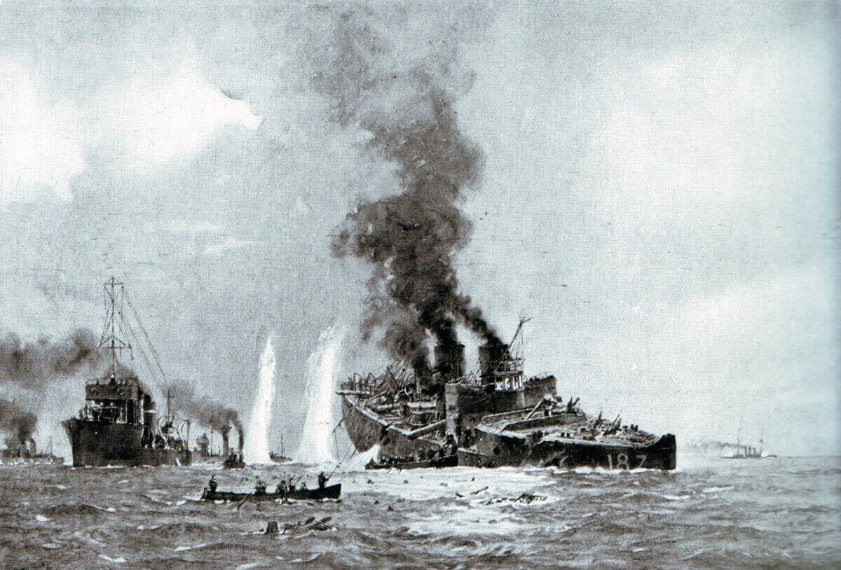 German destroyer V187 sinking during the Battle of Heligoland Bight on 28th August 1914 in the First World War