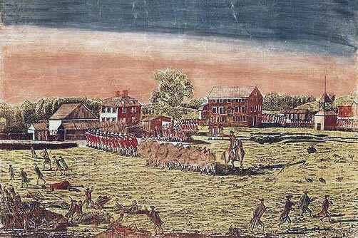 Battle on Lexington Green: Battle of Lexington and Concord 19th April 1775 American Revolutionary War: picture by Amos Doolittle