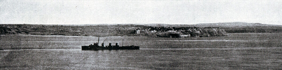 British destroyer passing Sedd el Bahr at Cape Helles:Gallipoli Part II, March 1915 to January 1916 in the First World War