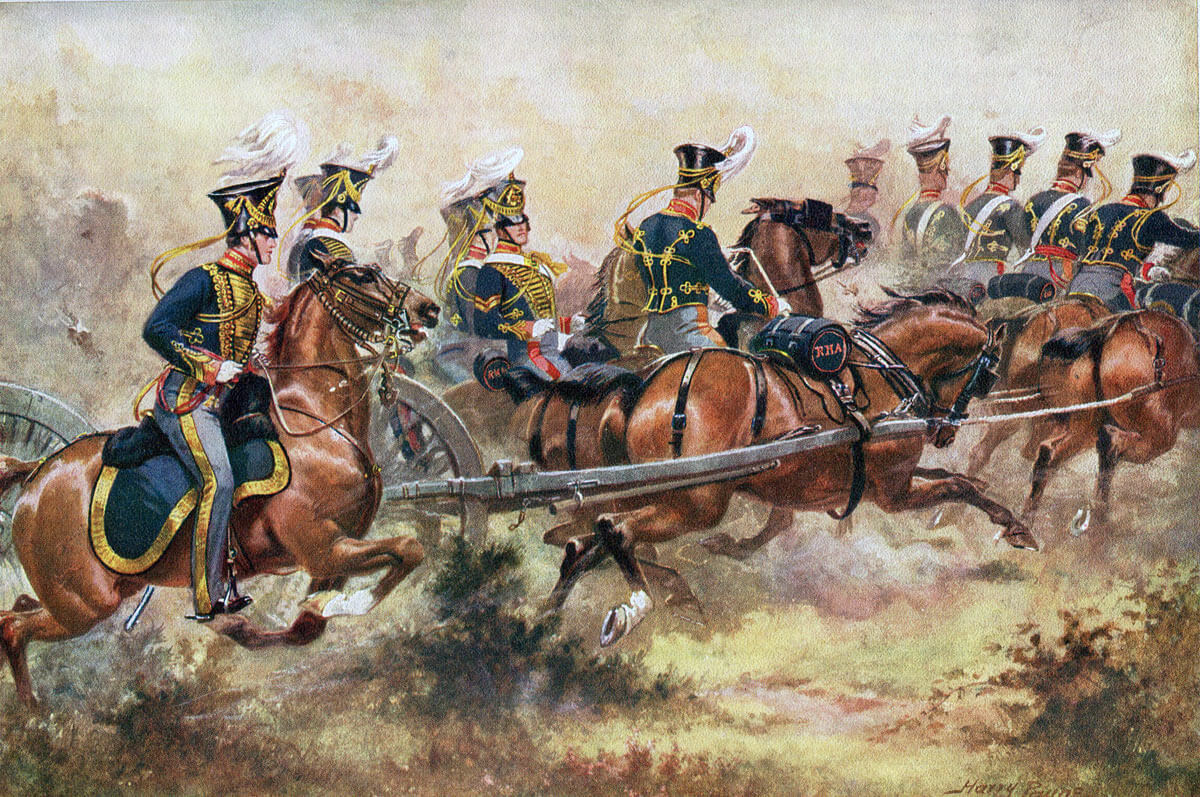 Royal Horse Artillery Battery: Battle of Kabul 1842 in the First Afghan War: picture by Harry Payne