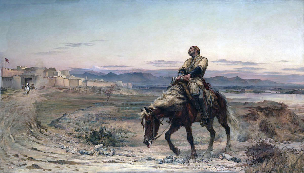 'Remnants of an Army': Dr Brydon arriving at Jellalabad on 13th January 1842, last survivor of the Anglo-Indian Army in the retreat from Kabul: Siege of Jellalabad from 12th November 1841 to 13th April 1842 during the First Afghan War: picture by Lady Butler