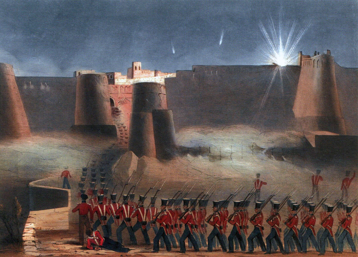 Assault on the city gate at the Battle of Ghuznee on 23rd July 1839 in the First Afghan War