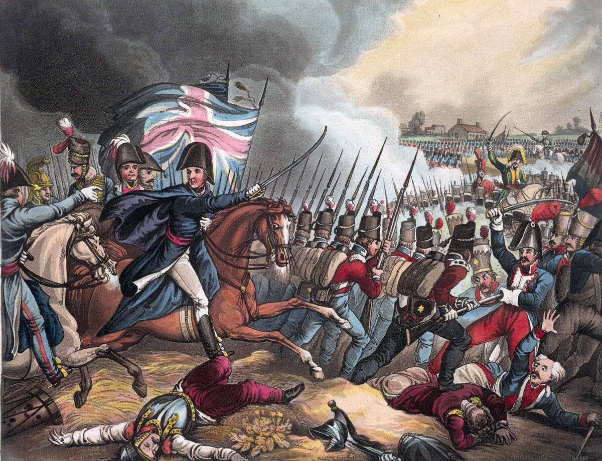 Duke of Wellington at the Battle of Waterloo on 18th June 1815: picture by William Heath