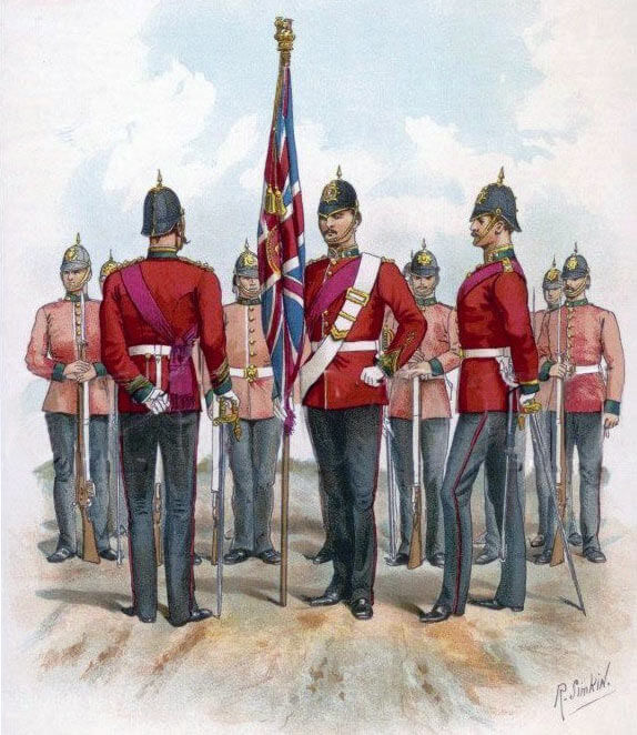 Colour Party of the Connaught Rangers: Battle of Le Grand Fayt on 26th August 1914 in the First World War: print by Richard Simpkin