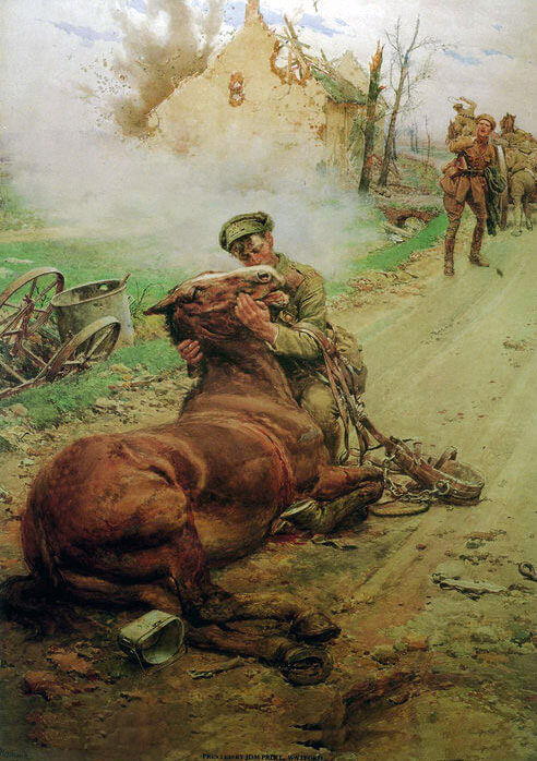 'Good bye Old Man', a British gunner leaves his dying horse: Battle of Mons on 23rd August 1914 in the First World War: picture by Fred Matania
