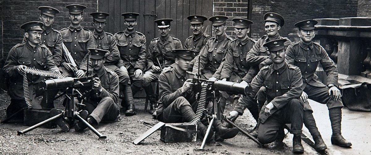 Irish Guards machine gun detachment At Wellington Barracks in August 1914 before leaving for France: Battle of Villers Cottérêts on 1st September 1914 in the First World War