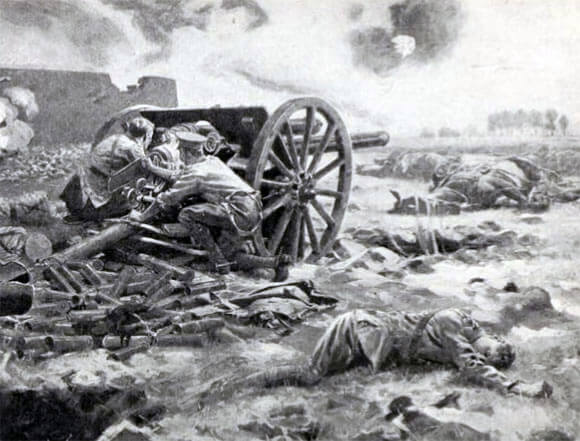 The last gun in action of L Battery, RHA: Battle of Néry on 1st September 1914 in the First World War