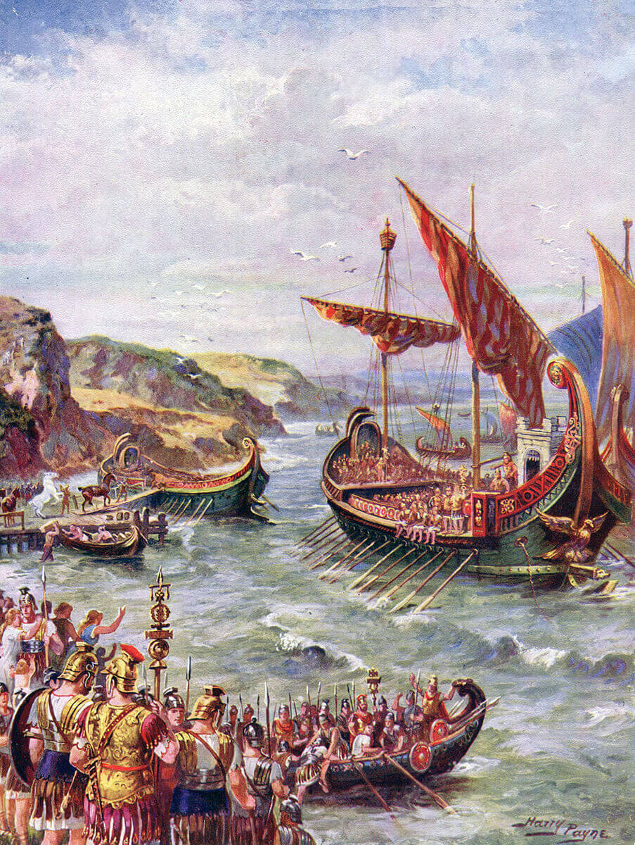 The Roman fleet landing on the coast of Britain for the Emperor Claudius' invasion of Britain. Picture by Harry Payne