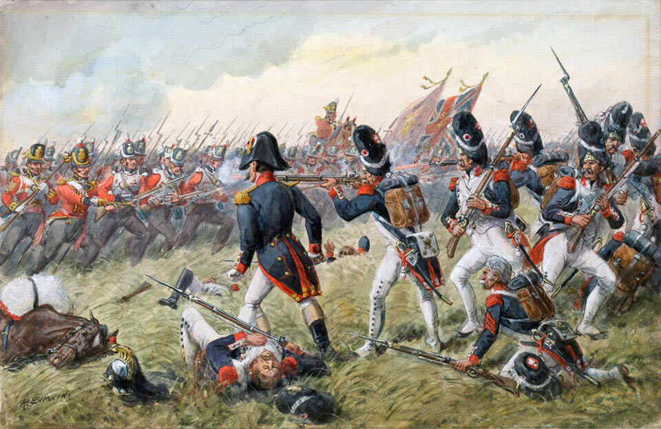 Third Regiment of Foot Guards (now Scots Guards) repulsing the attack of the Old Guard at the Battle of Waterloo on 18th June 1815: picture by Richard Simkin