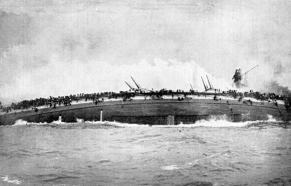 The German armoured cruiser SMS Blucher capsized and sinking in the Battle of Dogger Bank on 24th January 1915 in the First World War