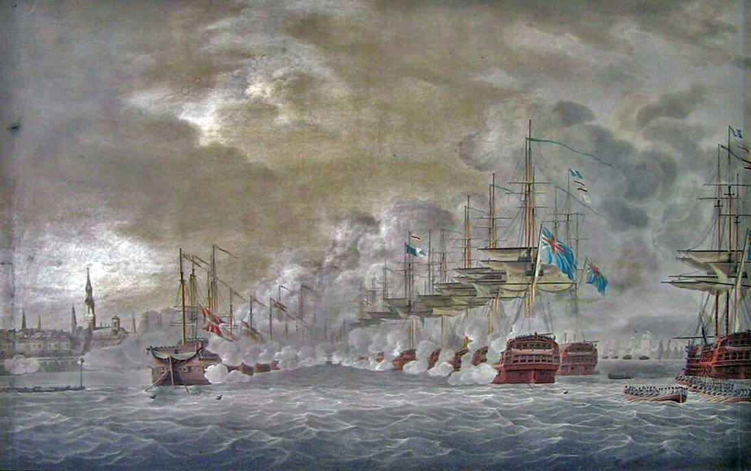 Battle of Copenhagen on 2nd April 1801 in the Napoleonic Wars