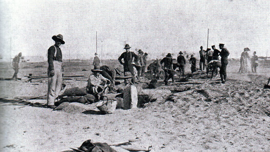New Zealand troops digging trenches in Egypt before leaving for the Gallipoli landings: Gallipoli Part II, March 1915 to January 1916 in the First World War