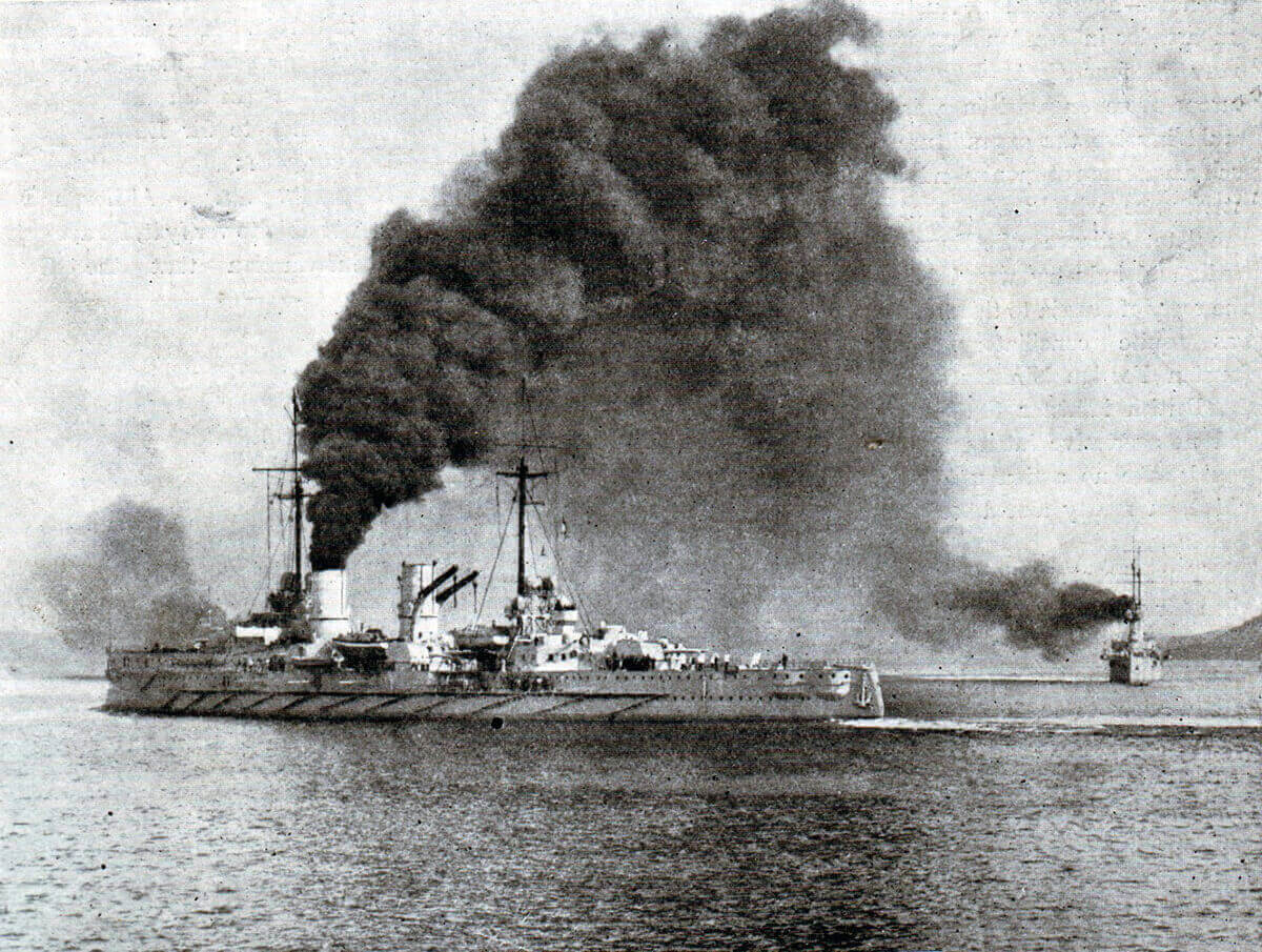 SMS Goeben: German heavy cruiser whose escape with SMS Breslau to Constantinople in 1914 and incorporation into the Turkish navy helped push the Ottoman Empire into the camp of the Central Powers, Germany and Austria: Gallipoli campaign Part I: the Naval Bombardment, March 1915 in the First World War