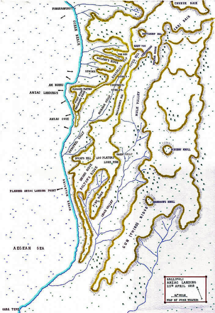 Map of the Anzac landing on Gallipoli 25th April 1915: Gallipoli Part III, ANZAC landing on 25th April 1915 in the First World War: map by John Fawkes
