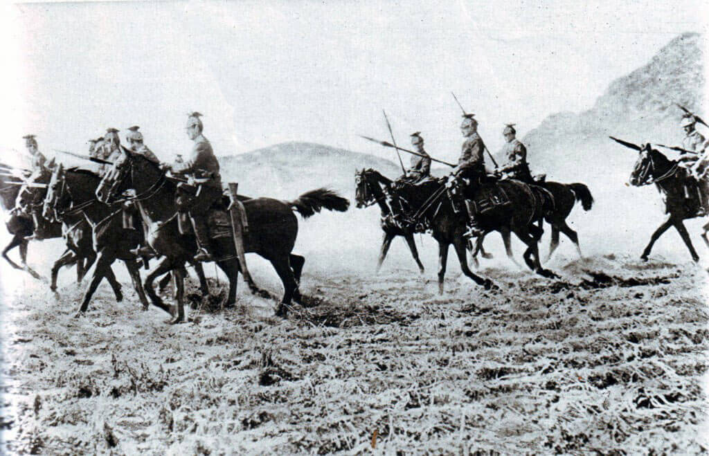 German Uhlans advancing to the attack:Battle of the Marne, fought from 6th to 9th September 1914, during the First World War
