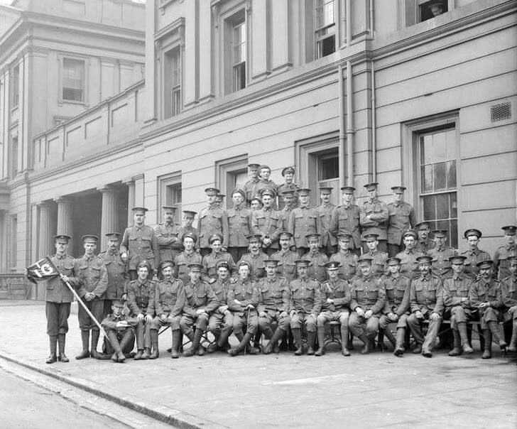 Lieutenant Alexander (in the Second World War, Earl Alexander of Tunis) with No 1 Platoon, 1st Irish Guards, at Wellington Barracks in August 1914: Battle of Villers Cottérêts on 1st September 1914 in the First World War