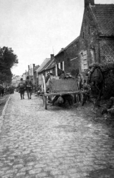 Soldiers of 1st Cameronians, 19th Brigade: Battle of Le Cateau on 26th August 1914 in the First World War