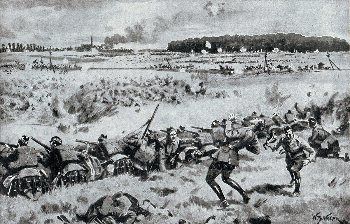 1st Gordon Highlanders holding the line east of Caudry, on 26th August 1914, during the Battle of Le Cateau in the First World War: picture by William Barnes Wollen