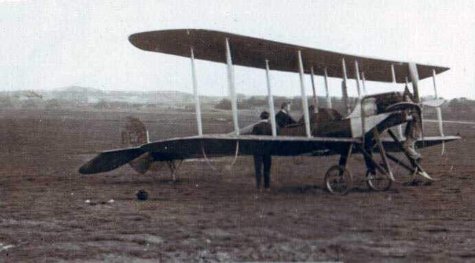 British BE2 Biplane (photo taken for Captain Harry Baird, ADC to General Haig) Captain Baird is in the passenger seat: Battle of the Aisne, 10th to 13th September 1914 in the First World War