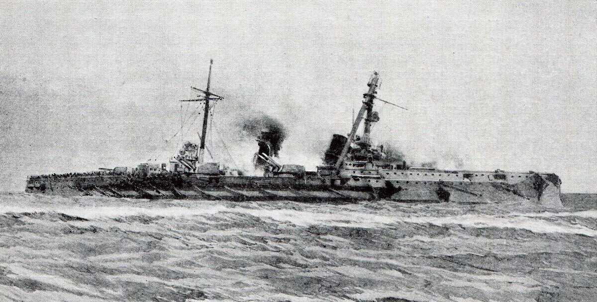 The German armoured cruiser SMS Blucher sinking in the Battle of Dogger Bank on 24th January 1915 in the First World War