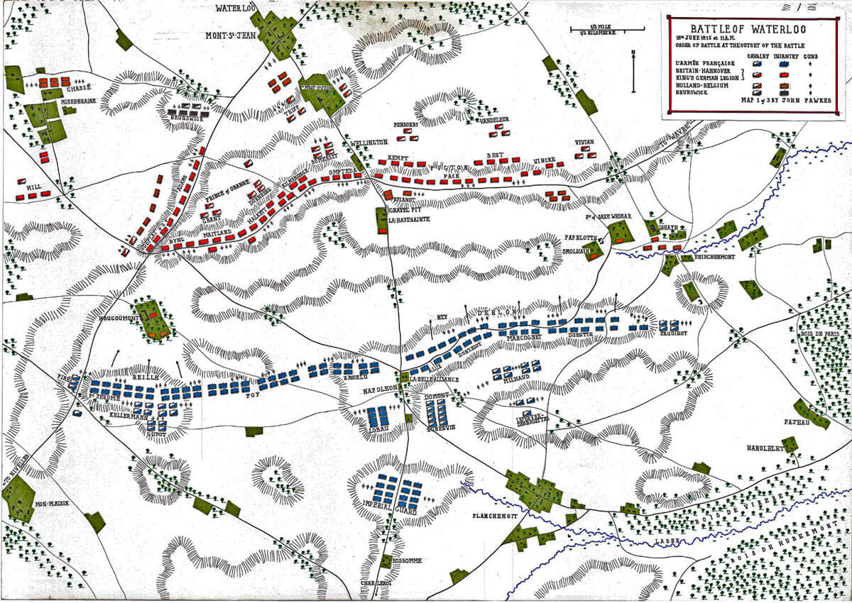 Map of the Battle of Waterloo at 11am on 18th June 1815: map 1 by John Fawkes