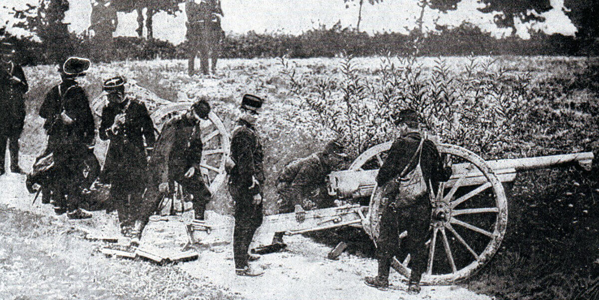 French 75mm field gun ready for action during the Battle of the Aisne, 10th to 13th September 1914 in the First World War