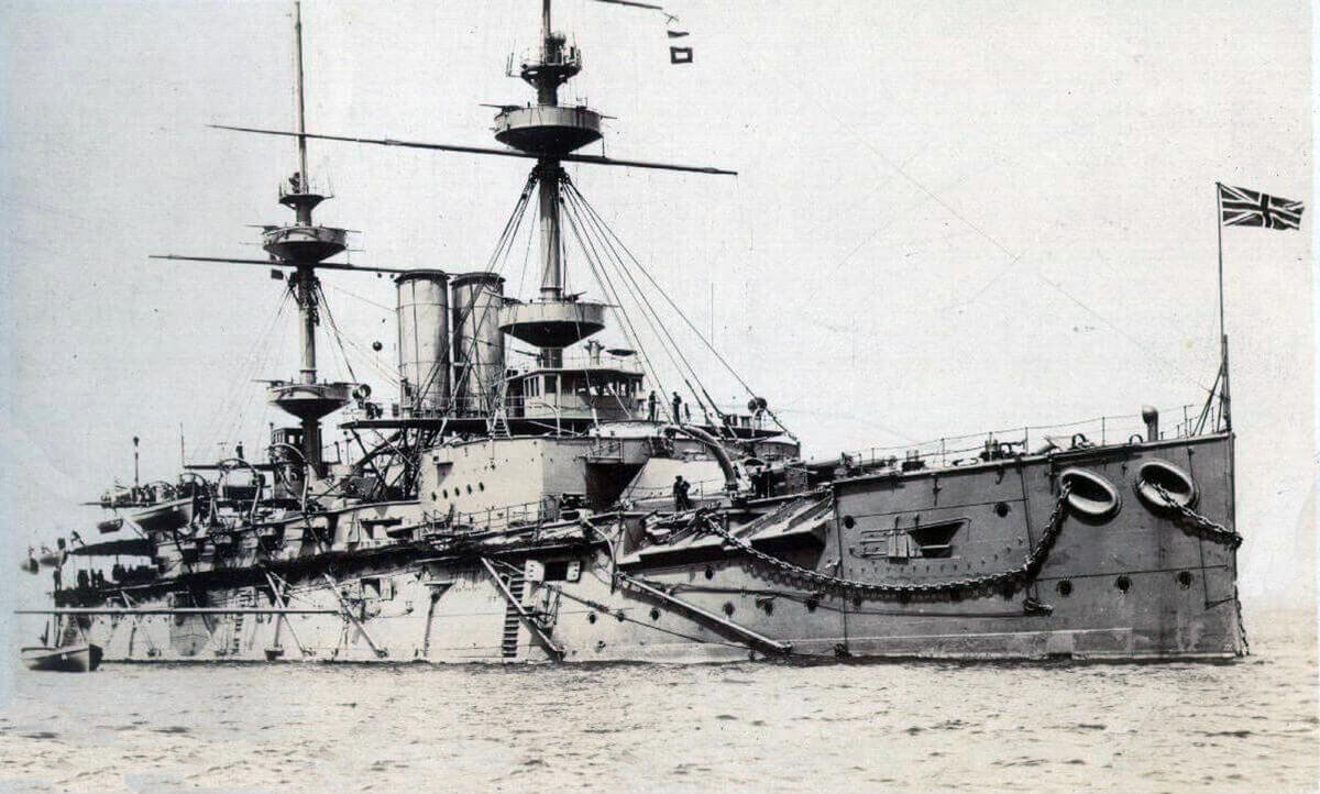 HMS Majestic: British pre-Dreadnought battleship that took part in the attack on the Dardanelles: Gallipoli campaign Part I: the Naval Bombardment, March 1915 in the First World War
