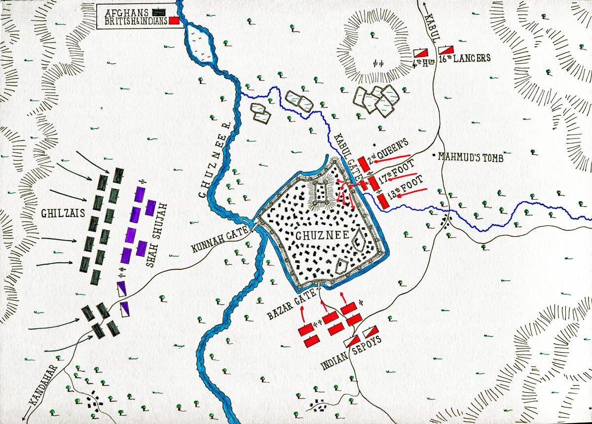 Map of the Battle of Ghuznee on 23rd July 1839: map by John Fawkes