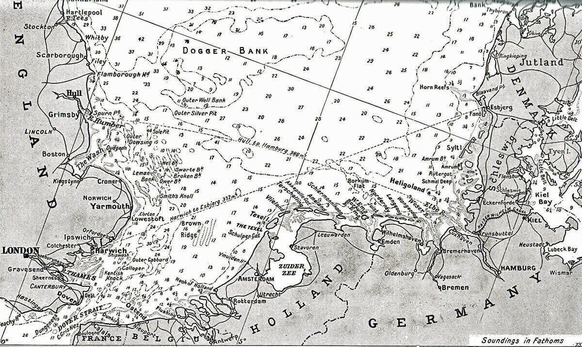 Map of the continental North Sea coast:Battle of Heligoland Bight on 28th August 1914 in the First World War