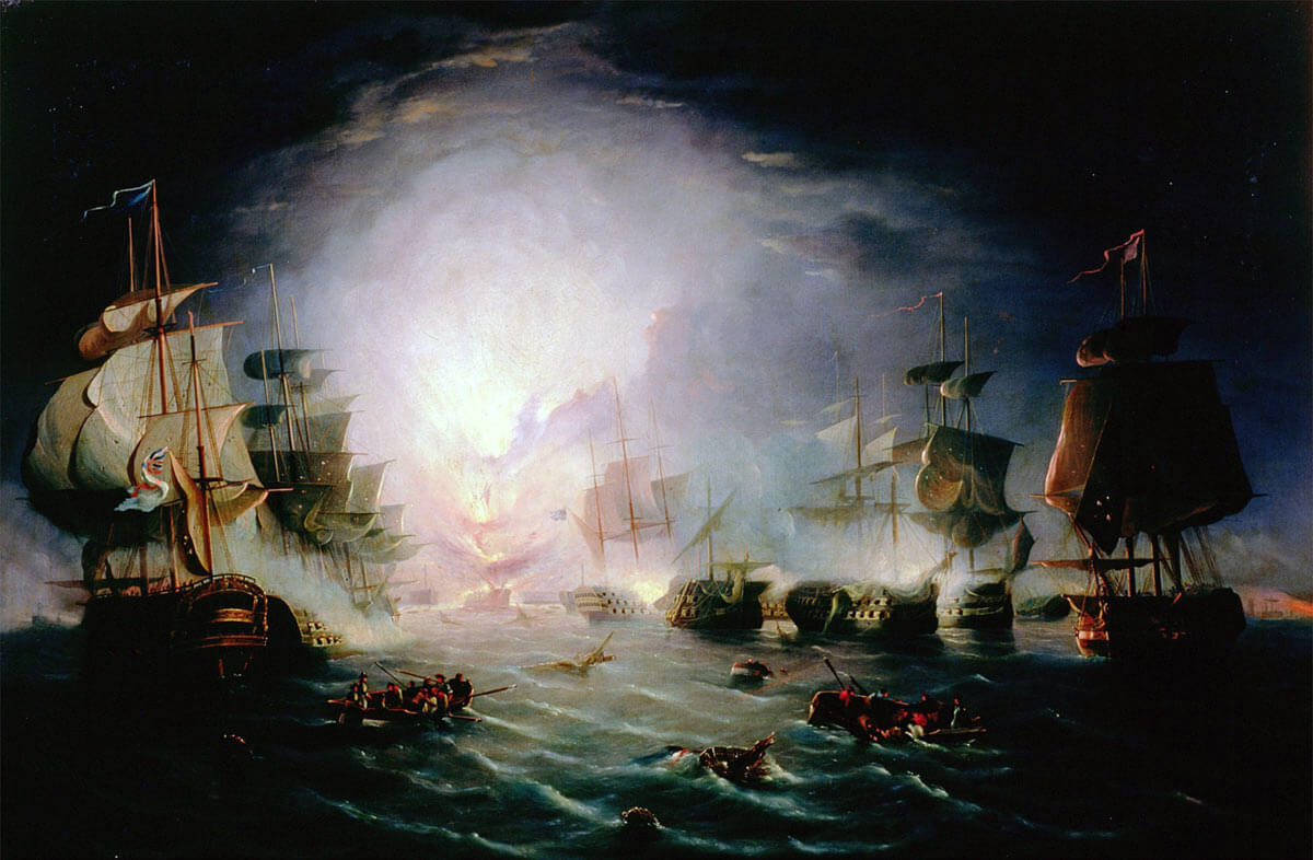 French Flagship L'Orient explodes at the Battle of the Nile on 1st August 1798 in the Napoleonic Wars: picture by John Thomas Serres