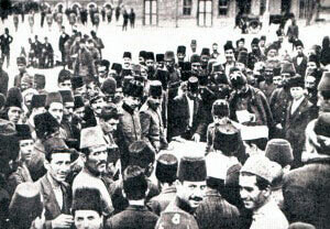 Turkish recruits reporting for service after the Ottoman Empire declared war on Britain and France: Gallipoli Part II, March 1915 to January 1916 in the First World War