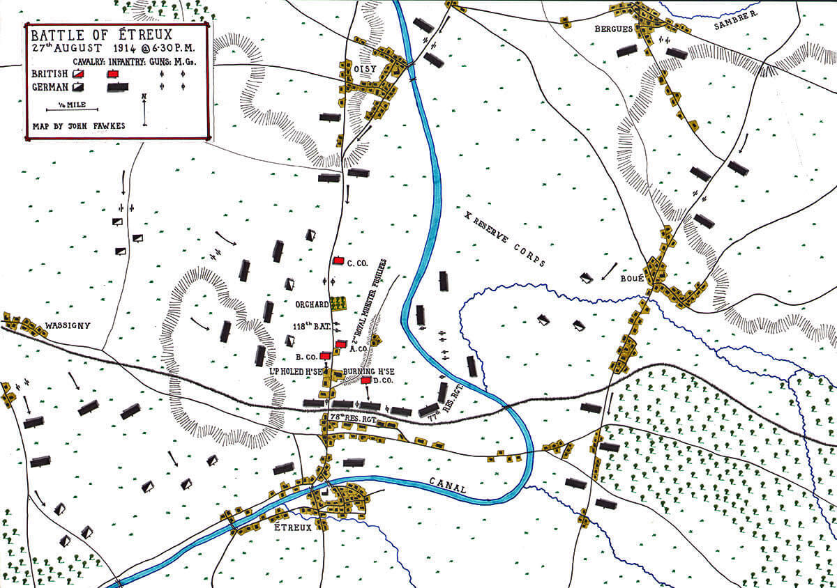 Battle of Étreux at 6.30pm on 27th August 1914 in the First World War: Map by John Fawkes