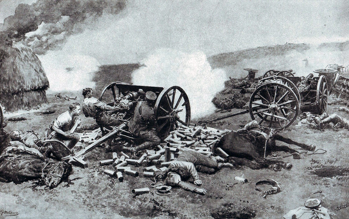 The final gun of L Battery in action, F Gun: Battle of Néry on 1st September 1914 in the First World War: picture by Fortunino 'Freddie' Matania