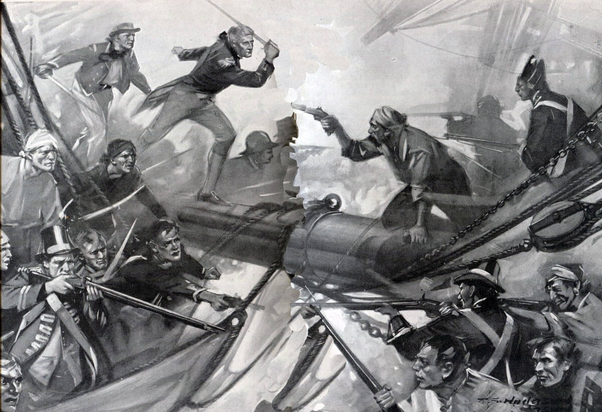 Crew of the French ship Redoutable boarding Victory during the Battle of Trafalgar on 21st October 1805 during the Napoleonic Wars: picture by E.S. Hodgson
