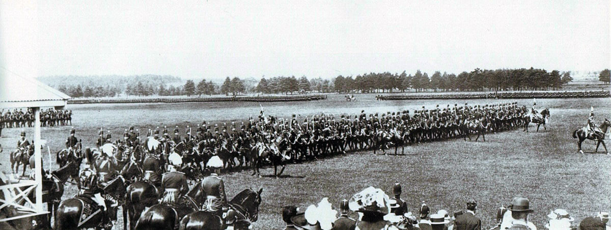 The 11th Hussars passing in review before King George V at Aldershot in June 1914: Battle of Néry on 1st September 1914 in the First World War