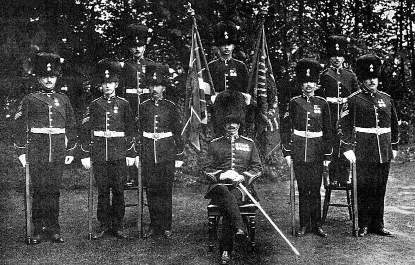 Colours and the battalion's colour sergeants of 2nd Royal Munster Fusiliers with the then commanding officer, Lieutenant Colonel Boyle, in Tidworth in 1912: Battle of Étreux on 27th August 1914 in the First World War