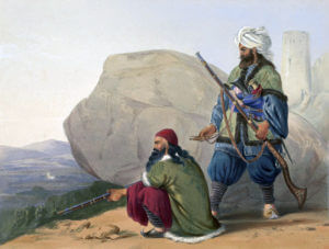 Afghan tribesmen: Battle of Kabul and Retreat to Gandamak 1842 during the First Afghan War: contemporary picture by James Atkinson
