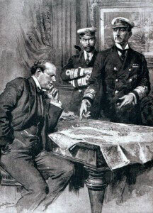 Winston Churchill as First Lord of the Admiralty in 1914, with Admirals Madden & Jellicoe. Churchill was a prime architect of the Dardanelles naval campaign