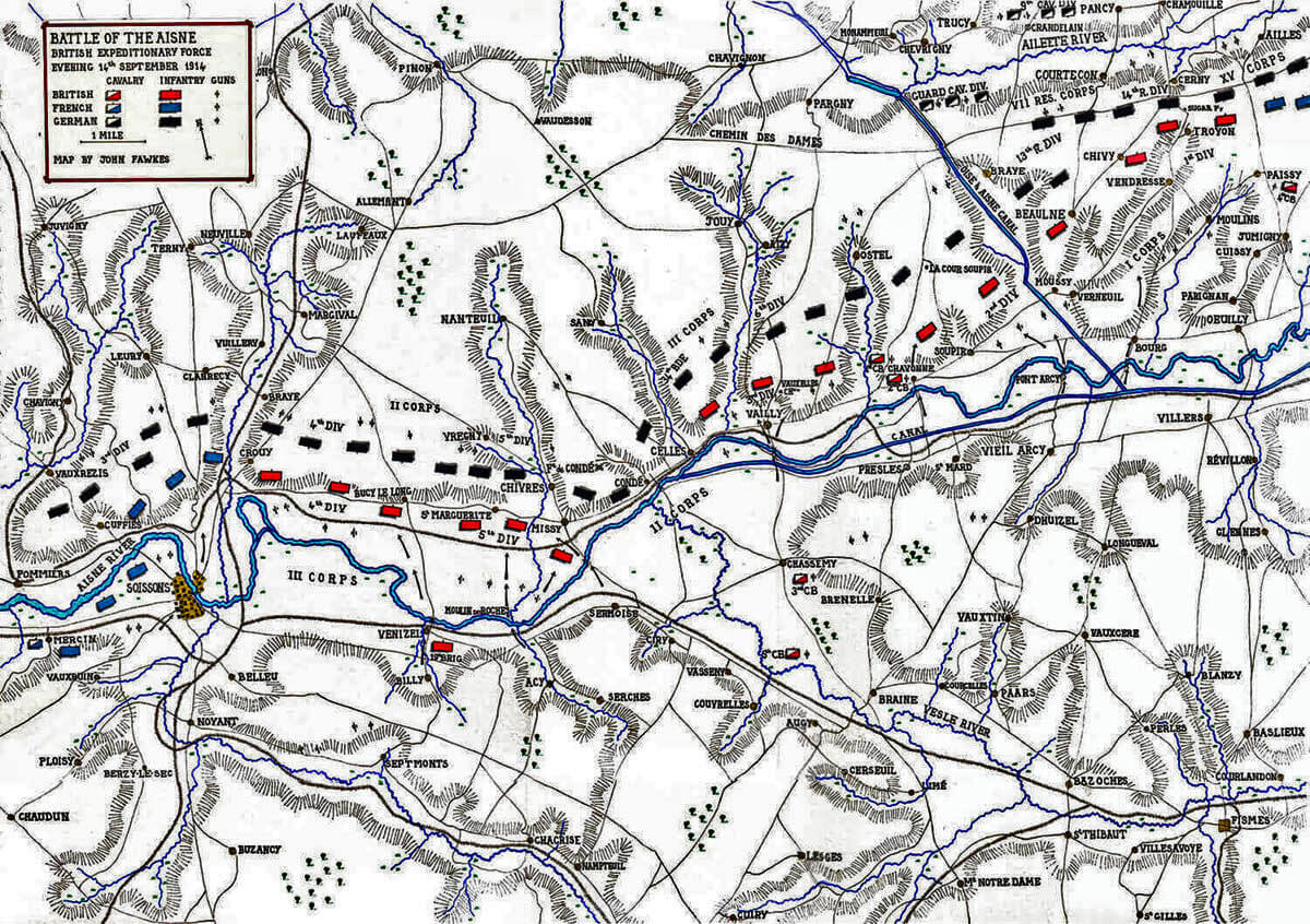 Map of the Battle of the Aisne, 10th to 13th September 1914 in the First World War: map by John Fawkes