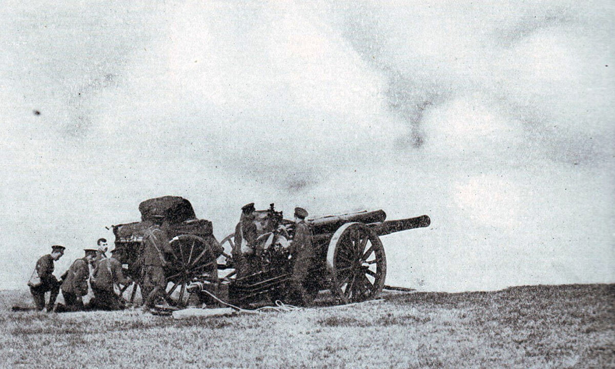 A 60 pounder gun of the Royal Garrison Artillery in action: Battle of Le Cateau on 26th August 1914 in the First World War