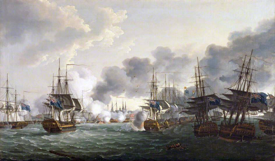 Nelson's British Fleet sails up the Royal Channel to attack the Danish Fleet and the Trekroner Citadel (The three British ships aground to the right are Bellona, Russell and Agamemnon): Battle of Copenhagen on 2nd April 1801 in the Napoleonic Wars: picture by John Thomas Serres