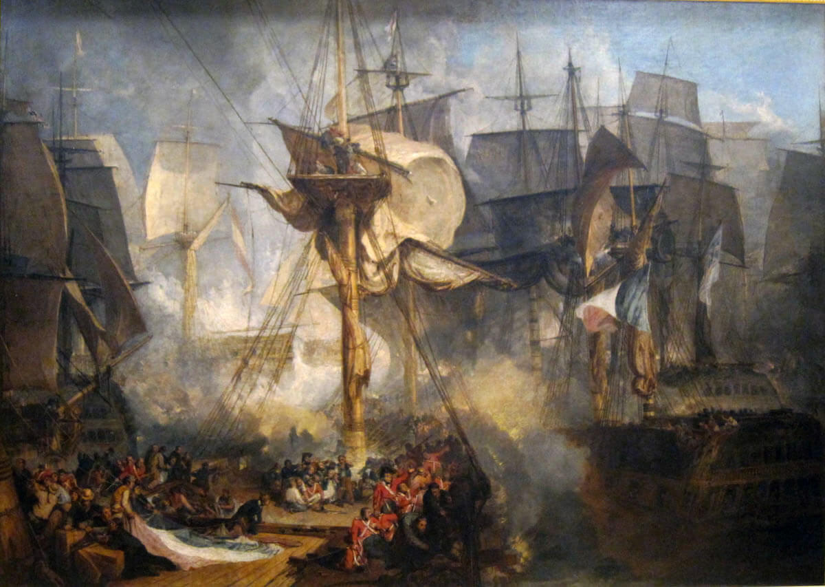 View from HMS Victory's Mizzen Starboard Shrouds at the Battle of Trafalgar on 21st October 1805 during the Napoleonic Wars: picture by Joseph Mallord William Turner