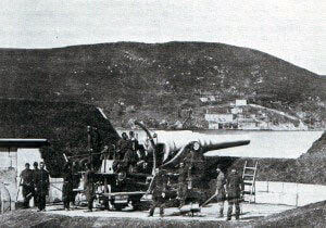 Turkish heavy gun at the Dardanelles Straits before the bombardment by the British and French fleets: Gallipoli campaign Part I: the Naval Bombardment, March 1915 in the First World War
