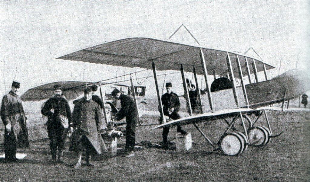 French aircraft being repaired in the field: Battle of the Marne, fought from 6th to 9th September 1914, during the First World War