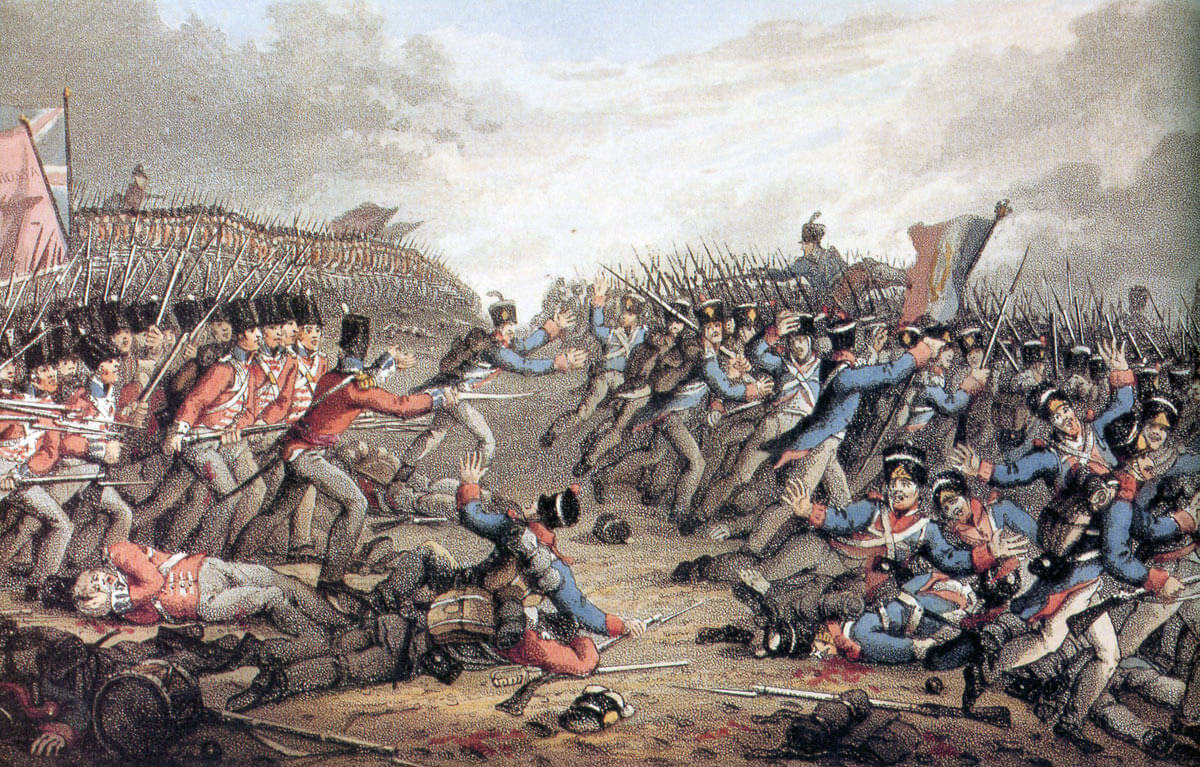 Final advance of the Allied line against the retreating French army at the Battle of Waterloo on 18th June 1815