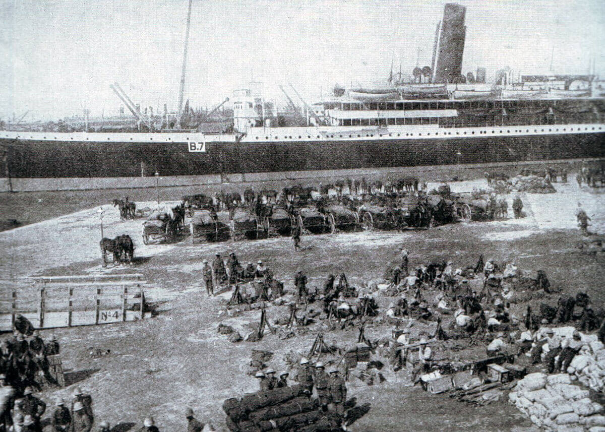 Transport B7 prepares to leave Alexandria with troops and equipment for the Gallipoli landings: Gallipoli Part II, March 1915 to January 1916 in the First World War