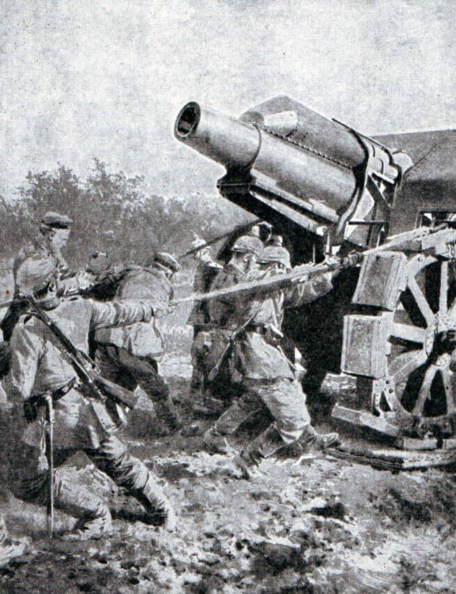 German heavy howitzer dragged into position during the Battle of the Aisne, 10th to 13th September 1914 in the First World War
