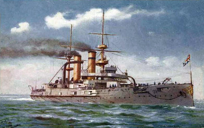 HMS Triumph: British pre-Dreadnought battleship in the attack on the Dardanelles. Triumph was mobilised in Hong Kong on the outbreak of war and partly crewed by 100 soldiers until the naval crew could be completed: Gallipoli campaign Part I: the Naval Bombardment, March 1915 in the First World War