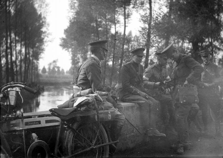 Brigadier-General Briggs, commanding 1st Cavalry Brigade, sitting on a bridge with his staff in October 1914: Battle of Néry on 1st September 1914 in the First World War